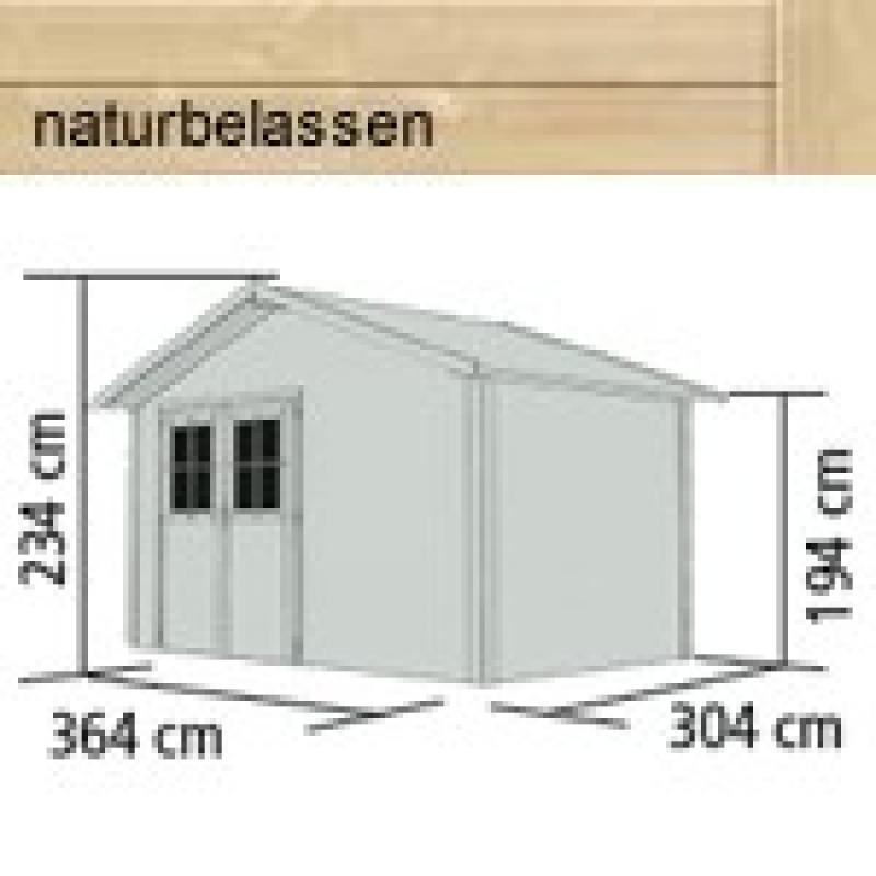 Karibu Holz-Gartenhaus Oldeborg 1 - 28 mm Wandstärke Eco Steck- und Schraubsystem, - naturbelassen