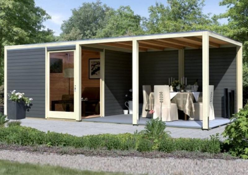 karibu gartenhaus cubus eck 2 flachdach 28 mm system. Black Bedroom Furniture Sets. Home Design Ideas