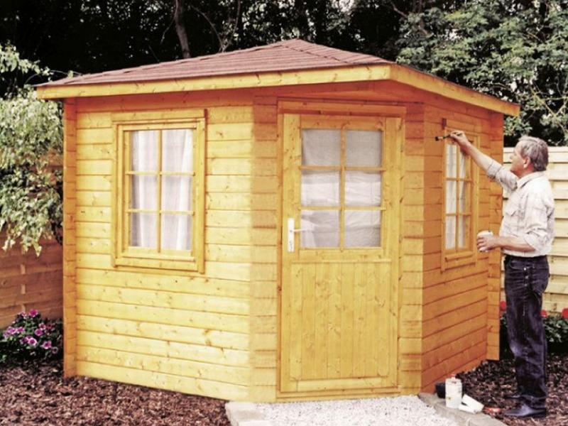 Wolff Finnhaus Holz-Gartenhaus Julia 28 mm B - 5-Eck-Holz-Gartenhaus - 280x280 cm