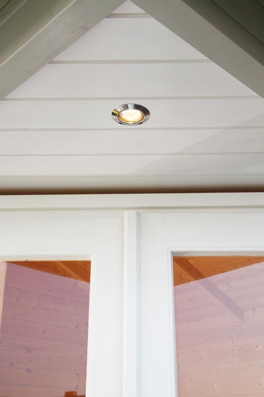 Wolff Finnhaus Gartenhaus Pavillon 40mm Sonja 40 mit schwarzen  Gartenhaus Dachschindeln und schwarze Dachhaube