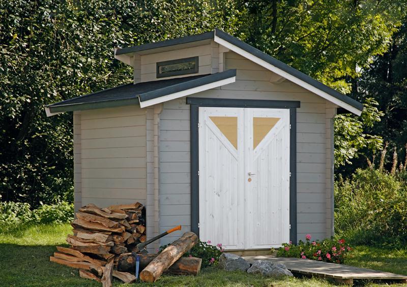 Wolff Finnhaus Holz-Gartenhaus Stufendachhaus Bornholm 40 mm A  Typ 4 (Dreieckglas-Tür)