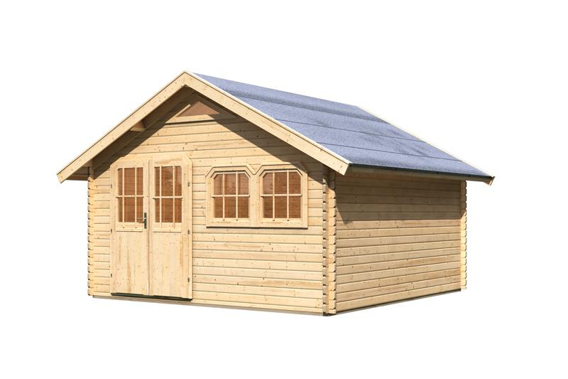 Karibu Holz-Gartenhaus Doderic 5 Satteldach 40 mm Massiv - natur