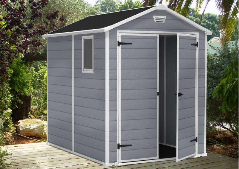 Tepro Kunststoff Gerätehaus Gartenhaus Manor 6x8   grau weiß
