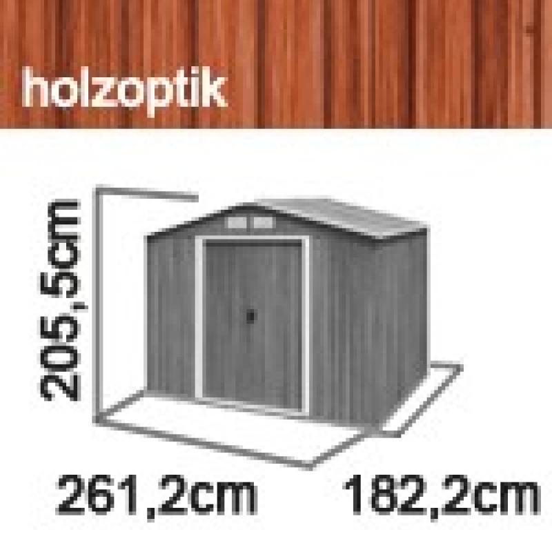 Tepro Gerätehaus Metall - Titan 8x6 - Holzoptik