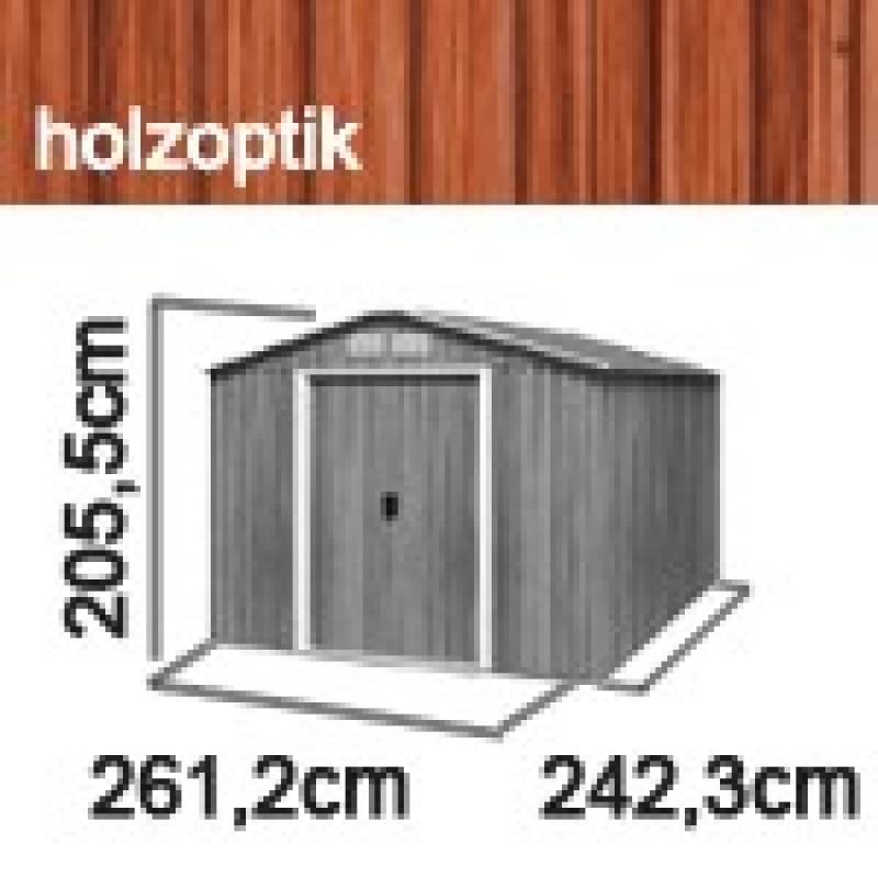 Tepro Gerätehaus Metall - Titan 8x8 - Holzoptik