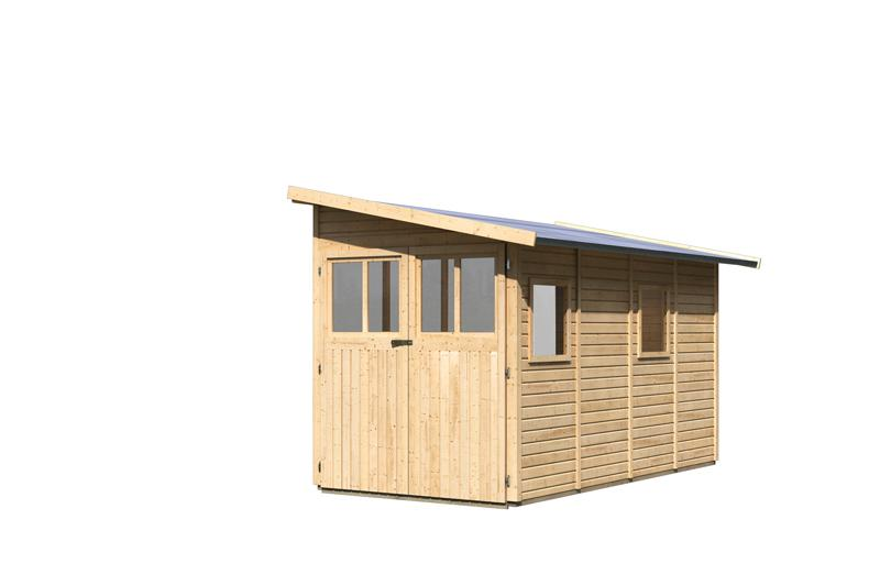 karibu gartenhaus wandlitz 4 pultdach 19 mm system natur. Black Bedroom Furniture Sets. Home Design Ideas