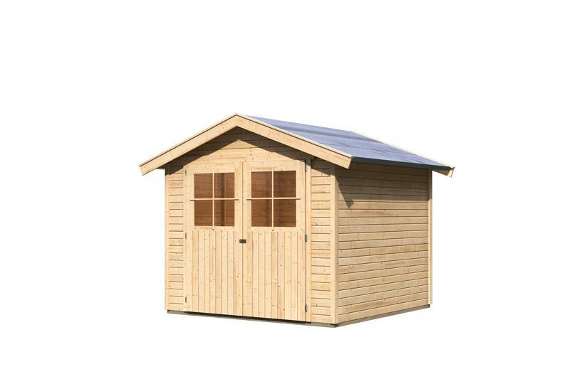 karibu gartenhaus harburg 5 19 mm schraub stecksystem naturbelassen. Black Bedroom Furniture Sets. Home Design Ideas
