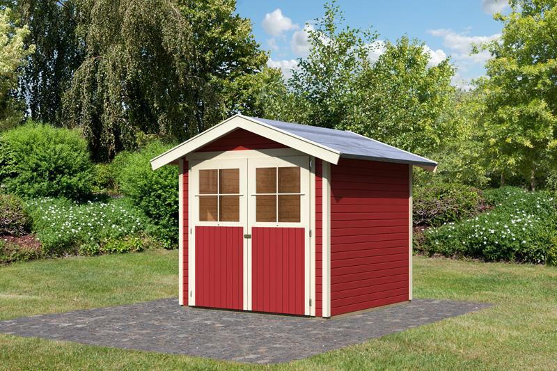 Karibu Gartenhaus Harburg 3 Satteldach 19 Mm System - Kastanienrot