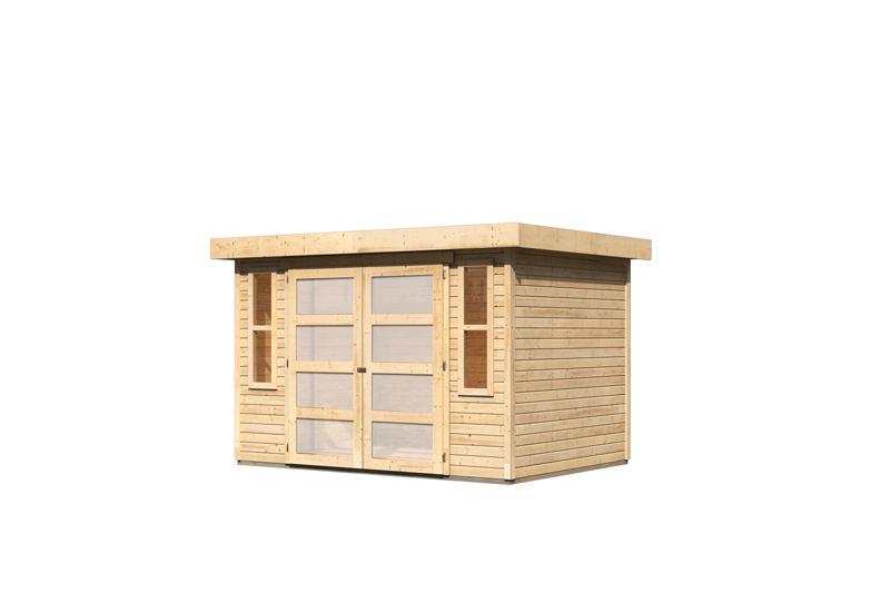 karibu gartenhaus m hlendorf 4 flachdach 19 mm system natur. Black Bedroom Furniture Sets. Home Design Ideas