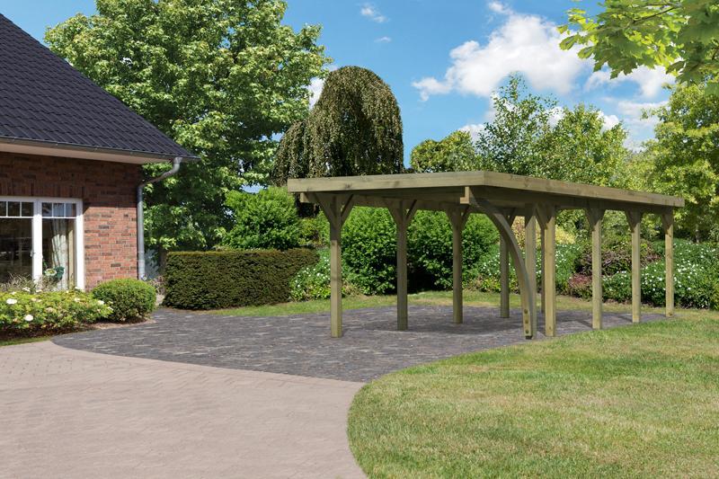 Karibu Holz Einzelcarport Classic 3 Variante B inkl. einem Einfahrtsbogen - PVC Dach