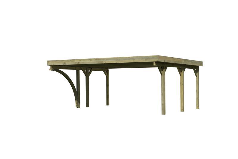 Karibu Holz Doppelcarport Classic 1 Variante B inkl. einem Einfahrtsbogen - PVC Dach