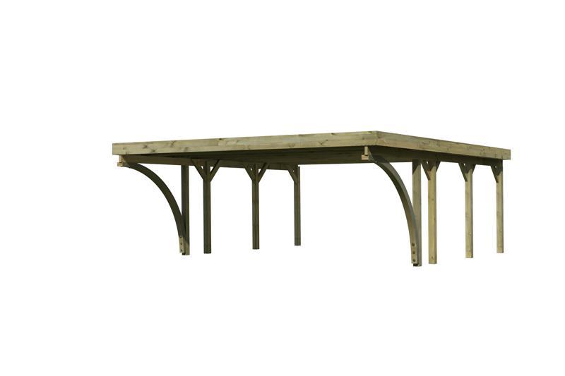 Karibu Holz Doppelcarport Classic 2 Variante C inkl. zwei Einfahrtsbögen - PVC Dach