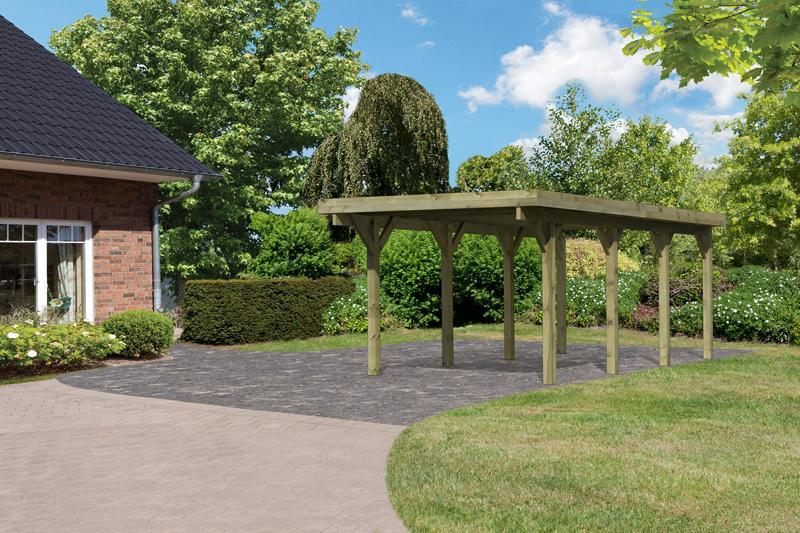 Karibu Holz Einzelcarport Classic 2 Variante A - Stahl Dach