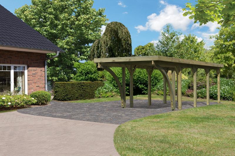 Karibu Holz Einzelcarport Classic 3 Variante C inkl. zwei Einfahrtsbögen - Stahl Dach