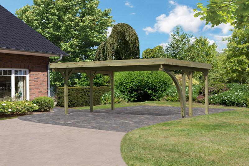 Karibu Holz Doppelcarport Classic 1 Variante B inkl. einem Einfahrtsbogen - Stahl Dach