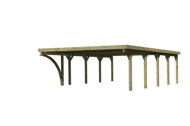 Karibu Doppelcarport Classic 3 Variante B inkl. einem Einfahrtsbogen - Stahl Dach