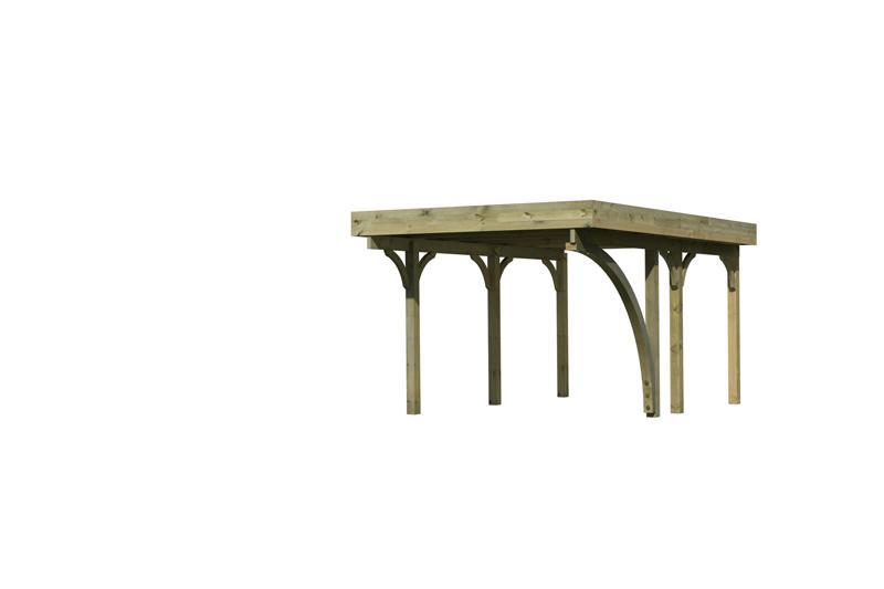 Karibu Holz Einzelcarport Premium 1 Variante B inkl. einem Einfahrtsbogen - PVC Dach