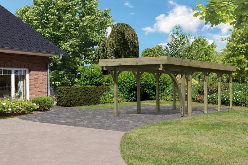 Karibu Holz Einzelcarport Premium 3 Variante B inkl. einem Einfahrtsbogen - Stahl Dach