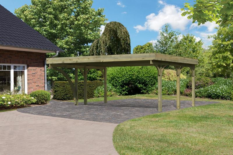 Karibu Holz Doppelcarport Premium 1 Variante B inkl. einem Einfahrtsbogen - Stahl Dach