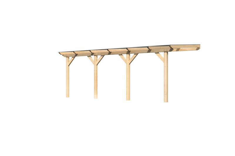 Karibu Holz Terrassenüberdachung Modell 2 Classic - Grösse C (300 x 604) cm - Leimholz natur