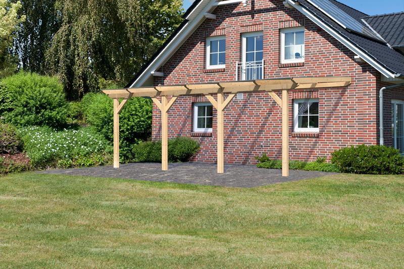 Karibu Holz Terrassenüberdachung Modell 3 Classic - Grösse C (350 x 604) cm - Leimholz natur