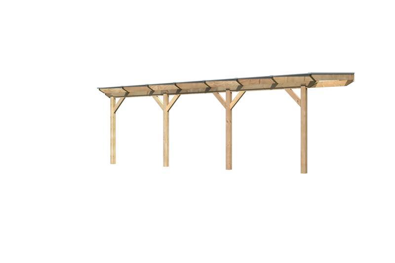 Karibu Holz Terrassenüberdachung Modell 1 Premium - Grösse C (250 x 714 cm) - Douglasie gerade