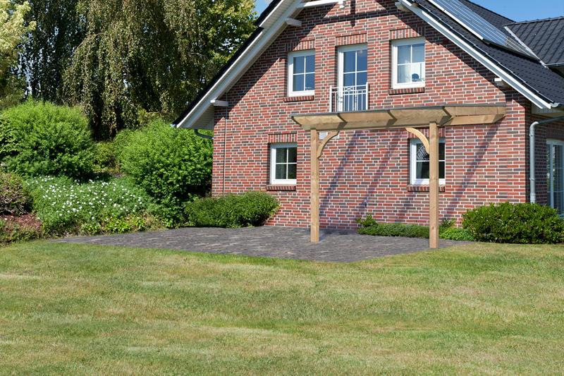 Karibu Holz Terrassenüberdachung Modell 1 Premium - Grösse A (250 x 310 cm) - Douglasie rund