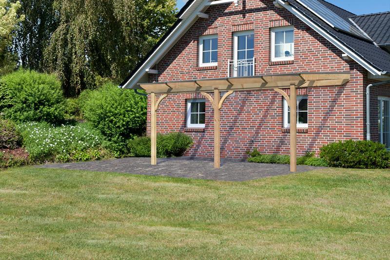 Karibu Holz Terrassenüberdachung Modell 2 Premium - Grösse B (250 x 310 cm) - Douglasie rund