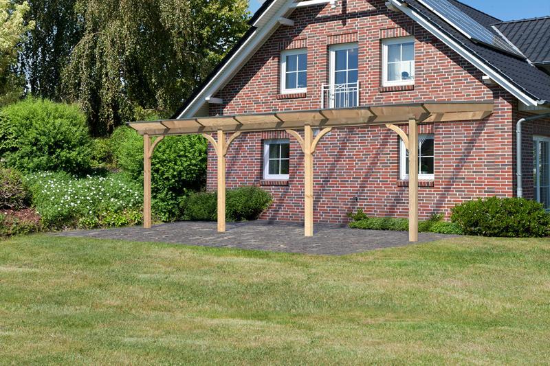Karibu Holz Terrassenüberdachung Modell 2 Premium - Grösse C (300 x 714 cm) - Douglasie rund