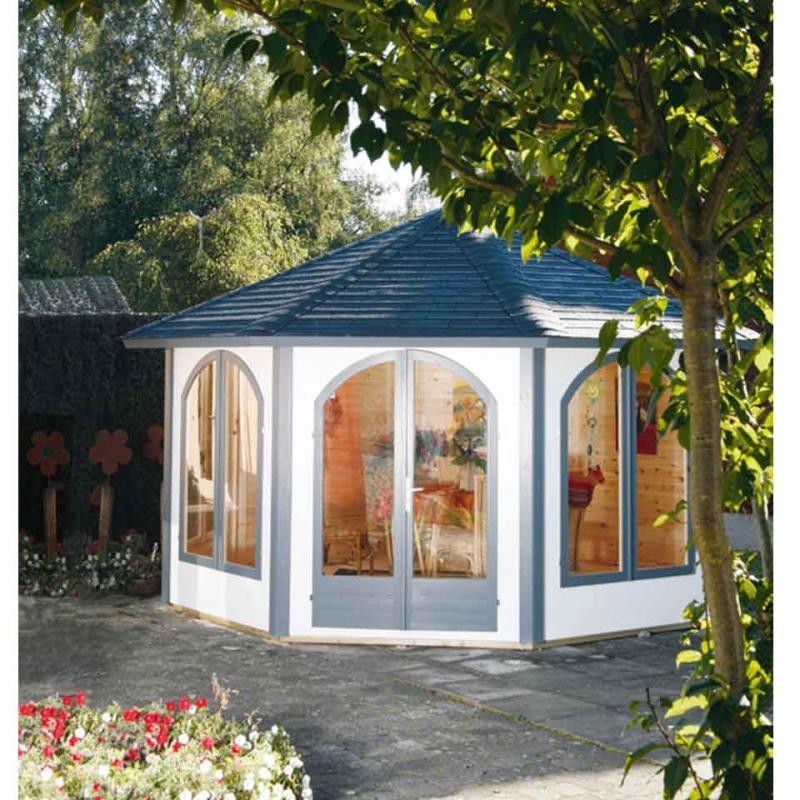 Wolff Finnhaus Pavillon Lugano 42-B mit 2 Fenstern z.Ö. Bohlenmaße: 413,6 x 413,6 cm