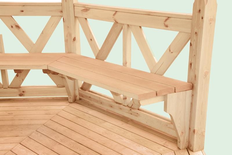 Wolff Finnhaus Gartenpavillon aus Holz Kreta 8: Satz Bänke