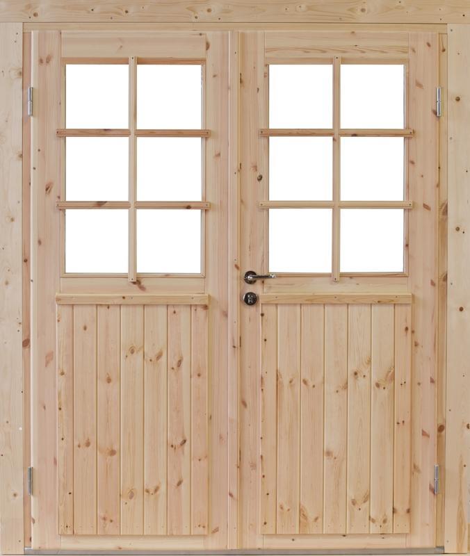 Wolff Finnhaus Holz-Gartenhaus Doppel-Tür -  Hero XL (extra hohe Türe) 70 Iso