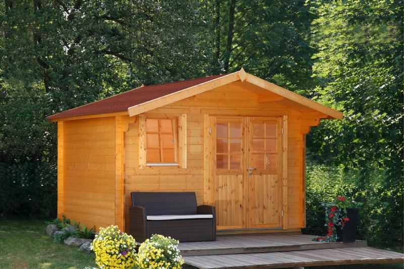 Wolff Finnhaus Holz-Gartenhaus 24mm Blockbohlenhaus Oslo  34-F Modern XL (extra hohe Türe)