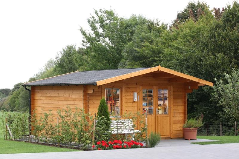 Wolff Finnhaus Holz-Gartenhaus Kim 44 mm B - Blockbohlenhaus