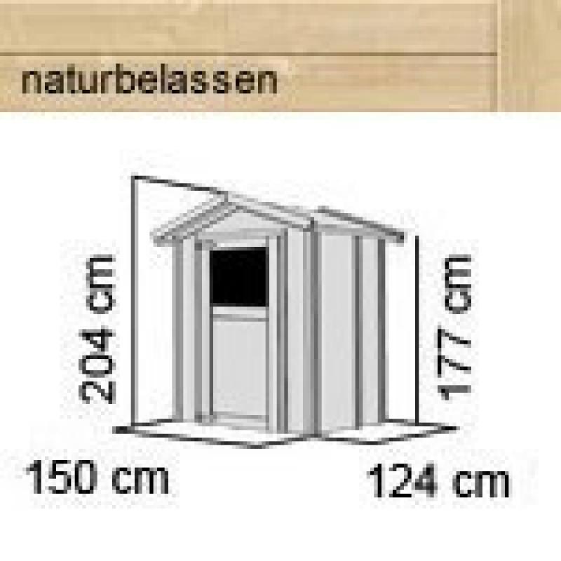 Karibu Holz-Gartenhaus Relin 1  - 14 mm Gerätehaus in Systembauweise - naturbelassen
