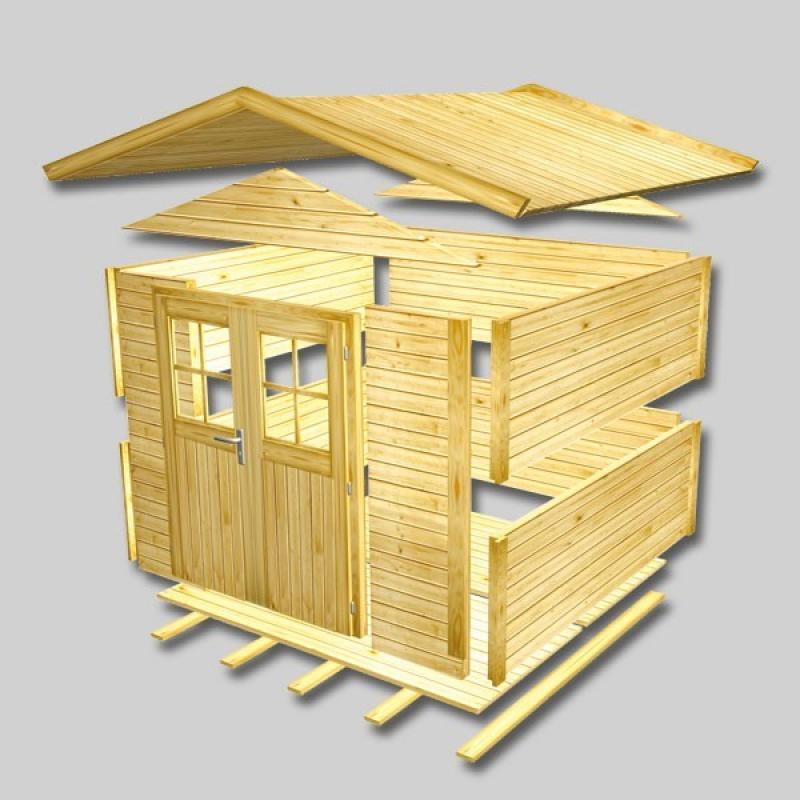 Karibu Holz-Gartenhaus Relin 2 - 14 mm Gerätehaus in Systembauweise - naturbelassen