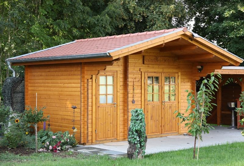Wolff Finnhaus Holz-Gartenhaus Caro 58 mm B- 2-Raum-Holz-Gartenhaus - Klassik