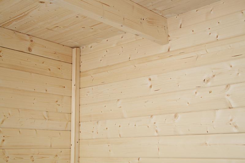 Wolff Finnhaus Holz-Gartenhaus Flachdach Gartenhaus aus Holz Pulti 28mm  Softline 2424 Natur mit SD 150