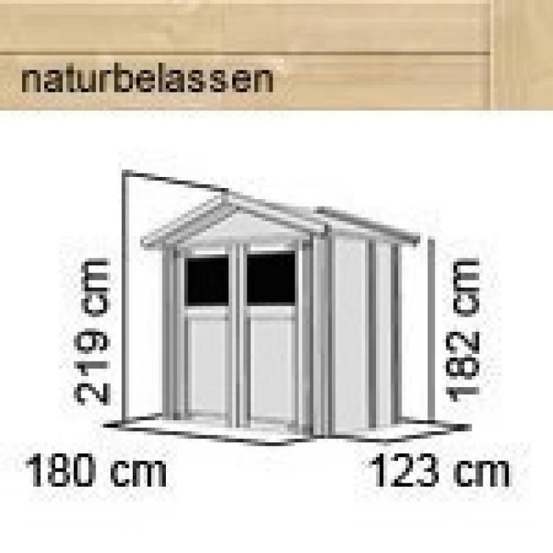 Karibu Gartenhaus Dahme 1    - 14 mm Gerätehaus in Systembauweise - naturbelassen