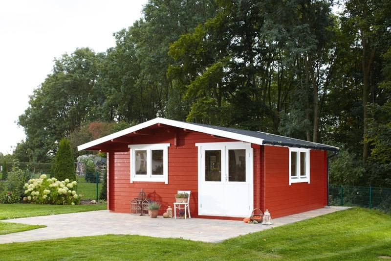 Wolff Finnhaus Holz-Gartenhaus 70mm Blockbohlenhaus  Nordkap 70-P