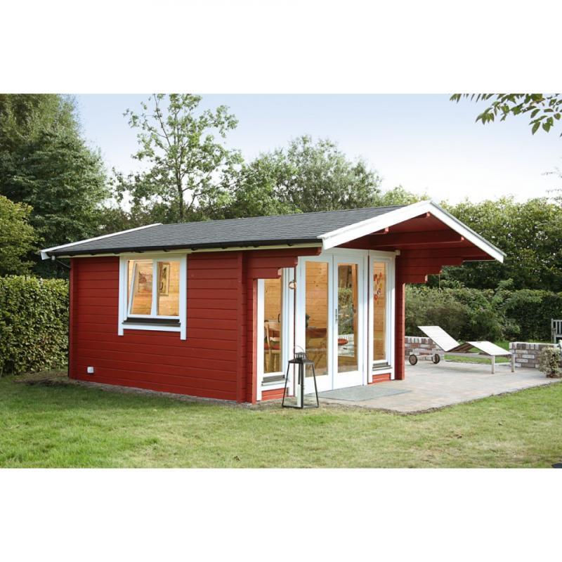 Wolff Finnhaus Holz-Gartenhaus Satteldach Hammerfest 70 mm F - Blockbohlenhaus