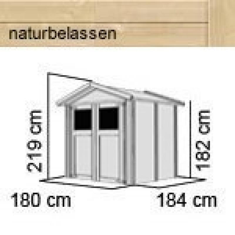 Karibu Gartenhaus Dahme 3 - 14 mm Gerätehaus in Systembauweise - naturbelassen