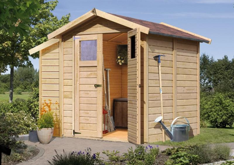 karibu gartenhaus durin 2 satteldach 14 mm system natur. Black Bedroom Furniture Sets. Home Design Ideas