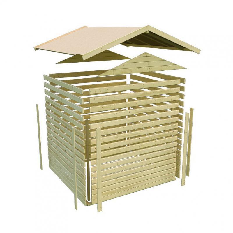 Karibu Gartenhaus Coborg - 28 mm Wandstärke Eco Steck- und Schraubsystem, - naturbelassen