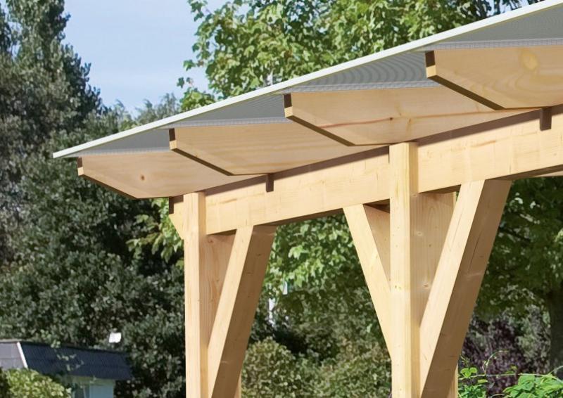 Karibu Holz Terrassenüberdachung Modell 3 Classic - Grösse B (350 x 402) cm - Leimholz natur