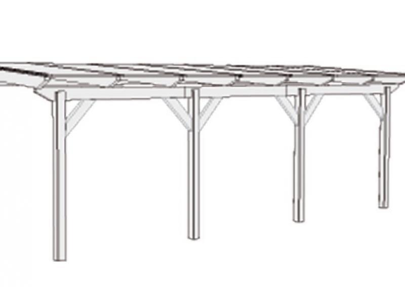 Karibu Holz Terrassenüberdachung Modell 3 Premium - Grösse A (350 x 310 cm) - Douglasie gerade