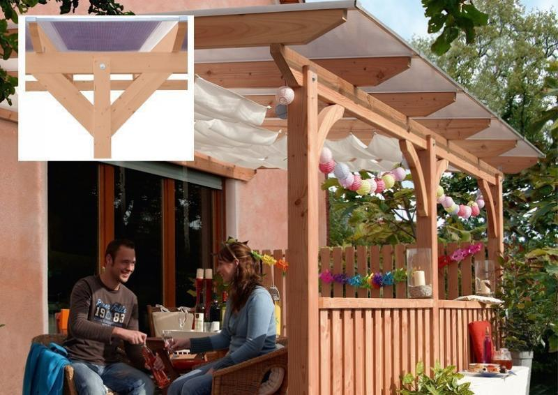 TerrassenUberdachung Holz Douglasie ~ Karibu Holz Terrassenüberdachung Modell 3 Premium  Größe C (350 x