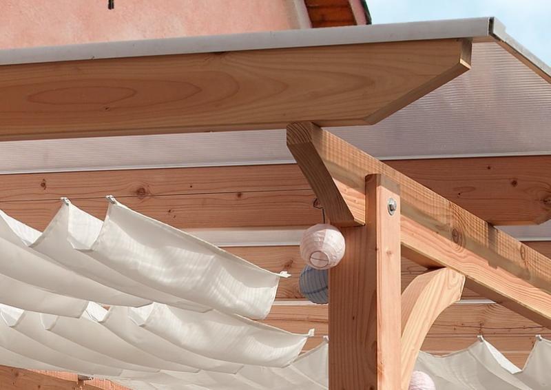 Karibu Holz Terrassenüberdachung Modell 3 Premium - Grösse C (350 x 714 cm) - Douglasie rund
