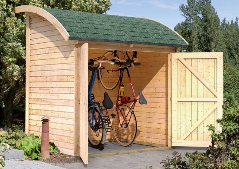 Woodfeeling Fahrradgarage mit Tonnendach - natur
