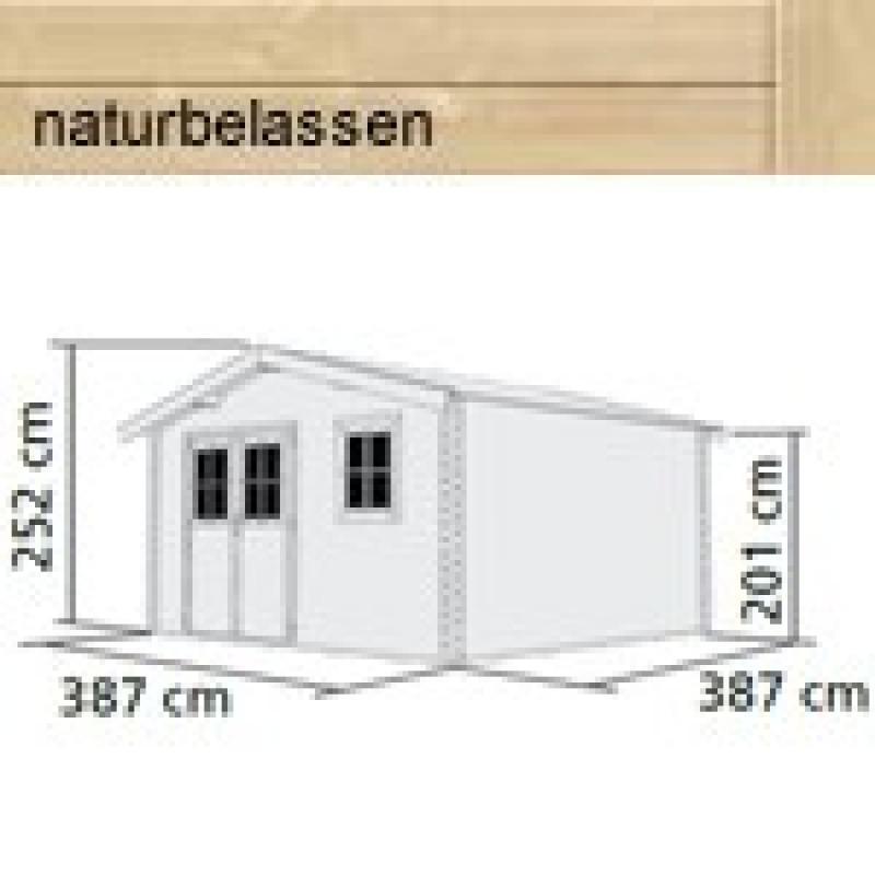 Woodfeeling Gartenhaus Felsenau 6 Satteldach 38 mm Blockbohlenhaus- natur